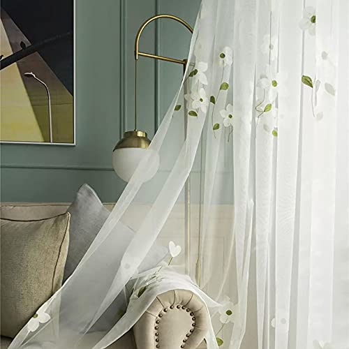 Slow Soul Set of 2 Panels White Magnolia Flower Embroidered Sheer Curtains for Bedroom Living Dining Room Window Treatments Drapes Villa Lace Curtain Voile Rod Pocket White 52W X 63 inch Length