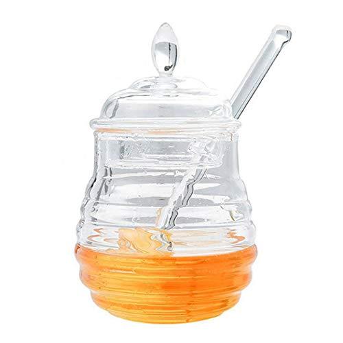 Justdolife honingkruik helder multifunctionele honingpot honinghouder met lepel voor thuis