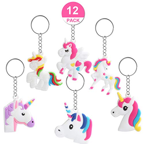 Kesote 12 llaveros en Forma de Unicornio Llavero Color Unicornio de 6 Modelos Buen Regalo para Niños, Amigos