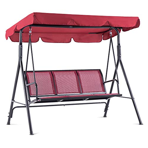 Mcombo Outdoor Patio Canopy Swing Chair 3-Person, Steel Frame Textilence Seats Swing Glider, 4507 (Burgundy)