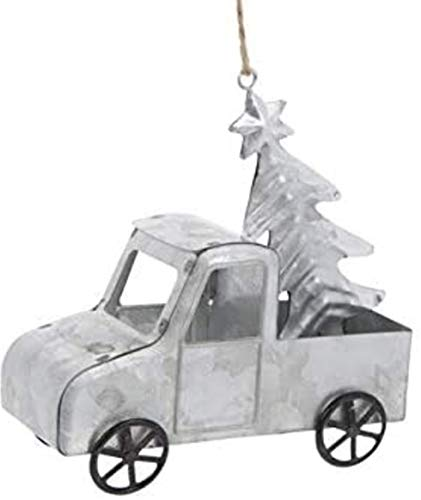 Galvanized Metal Farm Truck with Tree Christmas Ornament, Holiday Farmhouse Collection