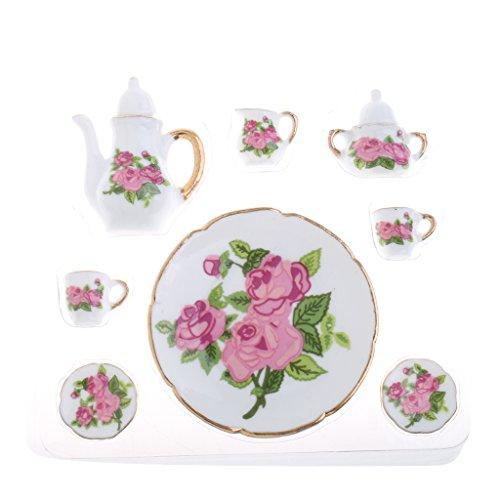 Sharplace 8 Pieces Flower Porcelain Tea Set Pot Cup Plate in Dollhouse Miniatures