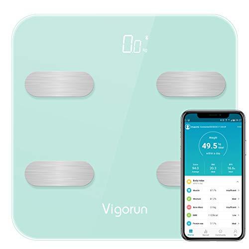 Vigorun Bluetooth Körperfettwaage Körperanalysewaagen Digitale Personenwaage mit App und 17 Körperdaten, Körperwaagen für Körperfett, Gewicht, Muskelmasse, BMI, BMR usw./ bis 180kg