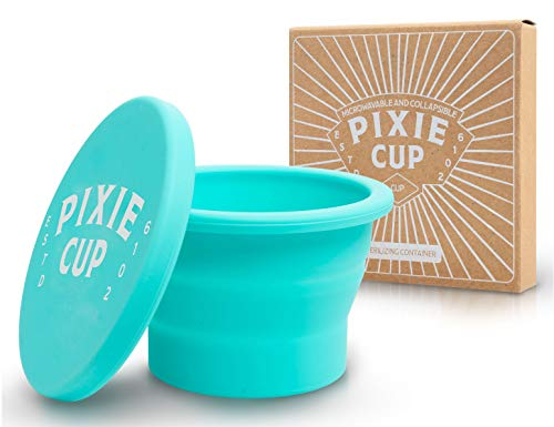 Pixie Menstrual Cup Case Holder - Collapsible Silicone Container to Boil and Sterilize Your Menstrual Cups and Store Your Period Cups - Microwavable Friendly - Foldable for Travel