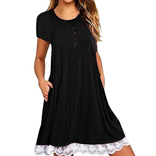 TWIFER Sommerkleid Damen O Neck Casual Feste Tasche Spitze Kurzarm Mini Dress Lose Party Kleider