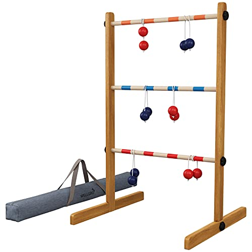 WELLGRO Leitergolf aus Holz - Kiefernholz massiv - inkl. Aufbewahrungstasche und Spielanleitung - Wurfspiel, Geschicklichkeitsspiel, Leiterspiel