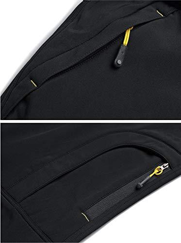 TACVASEN Casual Trousers Men Winter Waterproof Trousers Men's Warm Fleece Trousers Camping Walking Trousers Leisure Windproof Pants Black