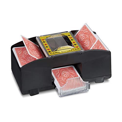 Relaxdays Kartenmischmaschine 2 Decks Elektrische Mischmaschine als Kartenmischgerät batteriebetrieben zum Mischen von Karten beim Pokern, Rommé und Skat auf Knopfdruck Karten sortieren, schwarz