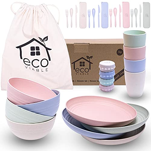 ECO VIABLE Wheat Straw Dinner Set - (36pcs) Eco Friendly, Lightweight, Strong, Microwave & Dishwasher Safe – Large Dinner Plates, Cups, Bowls, Cutlery & Canvas Bag, Picnic Camping Caravan Campervan