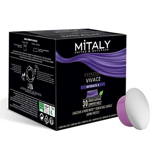 MITALY - CÁPSULAS COMPOSTABLES - Caja de 180 cápsulas Compatible con máquinas de café Lavazza A Modo Mio®* - Espresso Vivace