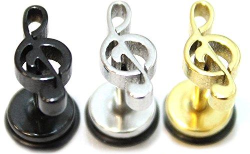Pendientes de acero inoxidable quirúrgico para hombre, clave de sol, 3 unidades
