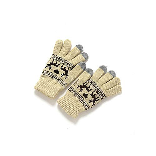 Unisex Glove Warm Thick Screen Sense Lanyard Wool Knitted Deer Pattern Covered Fingers Mittens Gloves,B,One Size