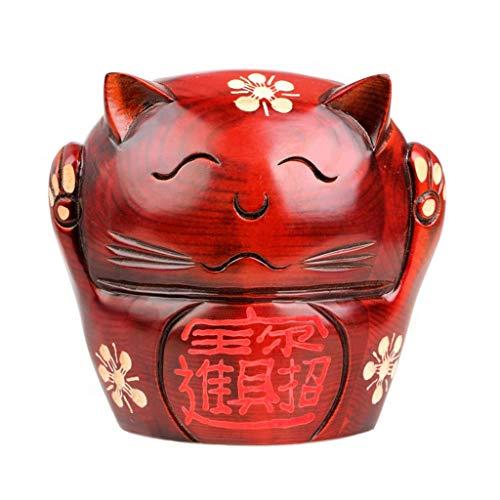 XHAEJ Natural Melocotón Madera Piggy Bank Lindo Lucky Cat Piggy Bank Precio Hucha Apertura Decoración de Regalo