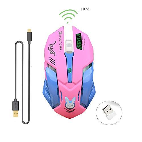Zienstar Lovely Gaming Mouse,Ratones inalámbricos Recargables de 2.4Ghz con Receptor USB, 7 Colores retroiluminados, Botones silenciosos para MacBook, computadora, computadora portátil (D.VA) -Rosa