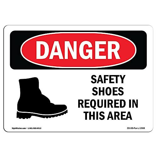 Diuangfoong OSHA Gefahrenschild – Sicherheitsschuhe erforderlich Bereich Symbol Schwerlastschild 20 x 30