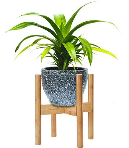 Bambus-Pflanzenständer von Harcas. Verstellbar für Töpfe von 22-32cm. Zur Indoor- und Outdoor-Nutzung. Inneneinrichtung im Mid Century Stil (Pflanze und Blumentopf nicht inbegriffen)
