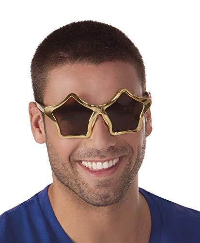 TH-MP Sternbrille Partybrille Unisex Sonnenbrille Gold metallic Party Outfit Kostüm Zubehör Accessoire Schlagerstar