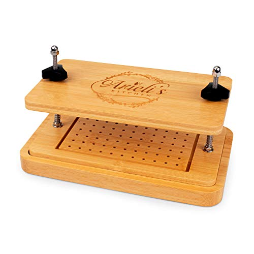 Arieli's Kitchen Bamboo Tofu Press - Easily Drain Water from Firm Tofu, Cheese, or other Foods in 15 Minutes - Premium Easy Twist Knobs - Eco Friendly Drip/Strainer & Marinade Tray - Extras Included