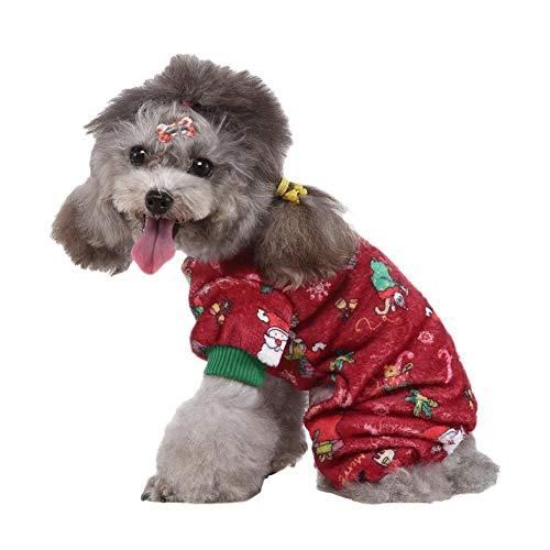 Disfraz de Perro de Navidad, Copo de Nieve de Papá Noel Ropa de Navidad para Mascotas, Pijamas de Invierno Abrigos de Mono Ropa Cachorro de Gato de Perro pequeño