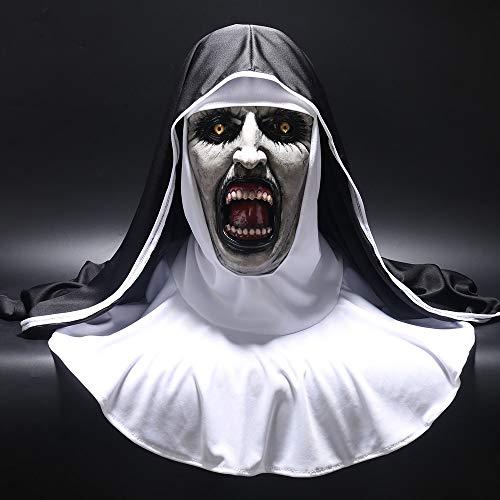 2018 Die Nonne Horror Maske Cosplay Valak Scary Latex Masken mit Kopftuch Schleier Kapuze Integralhelm Horror Kostüm Halloween Prop