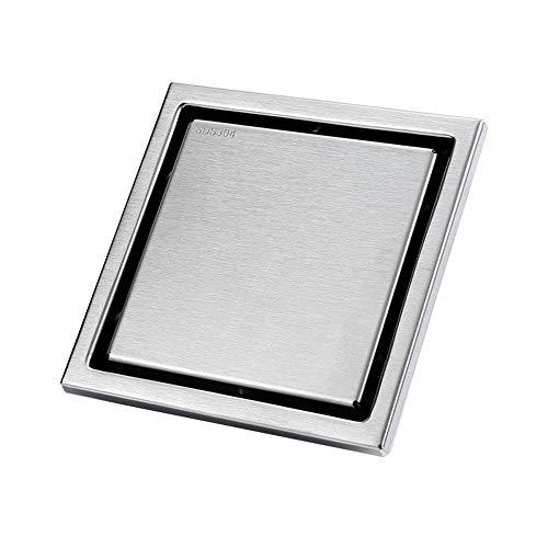 Cubierta del colador del Fregadero Baño Rectangular de Acero Inoxidable Agrega un Agente Oculto Ducha de Ducha. Tapón de residuos (Color : Metallic, Size : 110x110x45mm)