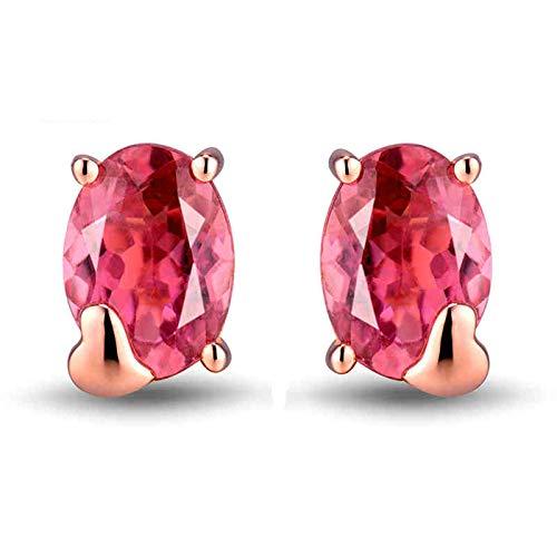 Bishilin Pendientes Oro Rosa 750 18 Kilates, 1.5ct de Turmalina Rosa de Corte Ovalado Aretes Elegante Ajuste Cómodo Aretes Para Mujer Hipoalergénicos Regalos Para Cumpleaños Navidad
