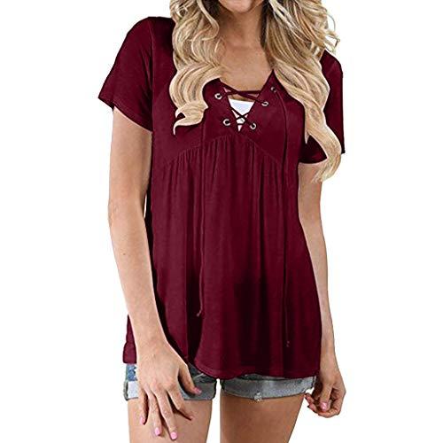 YUAN YUAN Frauen Tops, Flowy Tops V-Ausschnitt Criss Cross Lace Up T-Shirts Sexy Brustgurt Tunika Kurzarm Lose Bluse