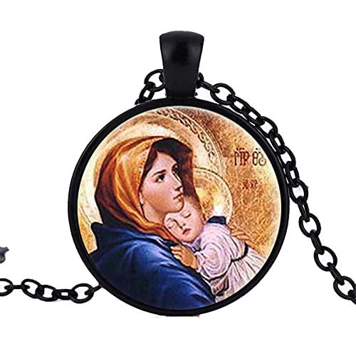 Virgen María con Colgante De Niño, Collar con Estampado De Vidrio, Joyería, Madre del Bebé Jesucristo, Virgen Cristiana Católica Religiosa, 50Cm