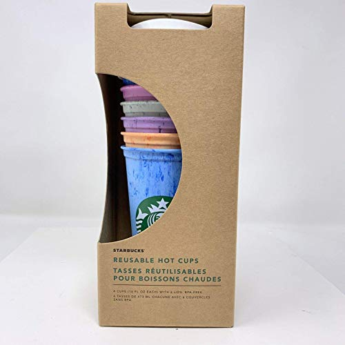 Starbucks Reusable Hot Cup Collection Pack Of 6 W/Lids 16 oz Summer 2019