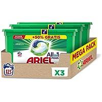 Ariel Allin1 Pods Regular Detergente en Cápsulas 123 Lavados, 3 Packs, con Lavado a 20 °C y Perfume Duradero