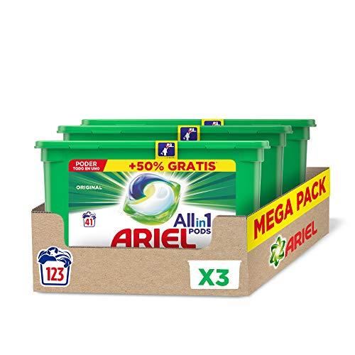 Ariel Allin1 Pods Regular wasmiddel in capsules, 123 wasgoed, 3 verpakkingen met 20 °C wasgoed en langdurige geur.