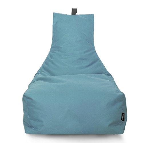 Lounge Sitzsack Liege Beanbag 32 Farben wählbar 90cm(Ø) Rückenlehne Bodenkissen Indoor Outdoor Sitzsäcke Gaming Kinder Bean Bag Erwachsene Riesensitzsack gefüllter Sessel (Hellblau)