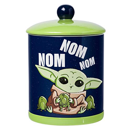 Silver Buffalo Star Wars Mandalorian Nom Frogs Large Canister Ceramic Cookie Jar