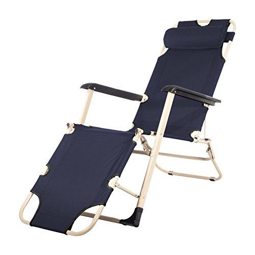 Smartfox Sonnenliege Liegestuhl Gartenliege Strandliege 4 Sitz-/Liegepositionen ca. 180 cm in dunkelblau