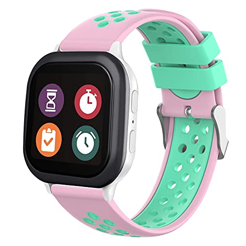 Gizmo Watch Band Replacement for Kids, 20mm Quick Release Watch Band for Men and Women, Soft Silicone Watch Band with Air Holes (20mm, Pink-Teal)