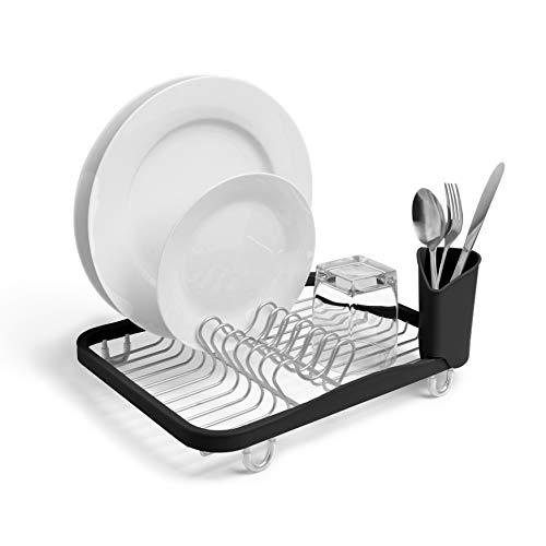 Umbra 330065-744 Sinkin Drying Rack – Dish Drainer Caddy with Removable Cutlery Holder Fits in Sink or on Counter top, Medium, Black/Nickel