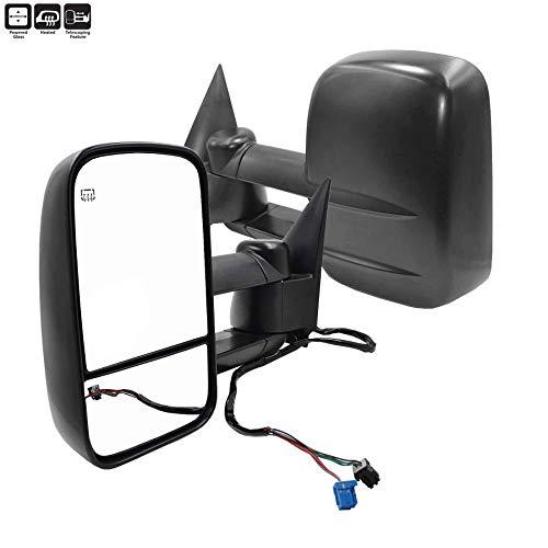 AERDM New Pair Towing Mirrors Power Operated Heated Textured Black Telescoping Trailer Side Mirrors Fit Chevy/GMC/Cadillac Silverado Sierra Avalanche Suburban Tahoe Yukon XL Escalade EXT ESV