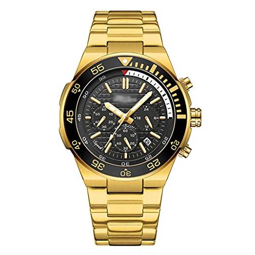 DSJMUY Relojes De Hombre-Reloj De Cuarzo Analógico De Negocios único para Hombres Cronógrafo De Acero Inoxidable Relojes