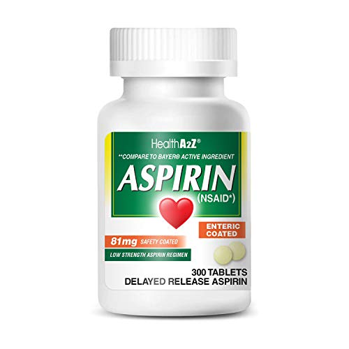 HealthA2Z Aspirin 81mg Low Strength, Enteric Coated, 300 Tablets, Compared to Bayer Active...