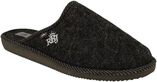 Zapatillas De Casa para Hombre De Fieltro De Lana Natural Calientes Transpirables Bienestar Natural Handmade Calidad (46 EU, Negro 904A)