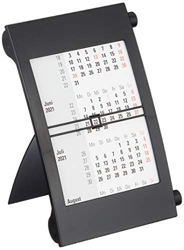 rido/idé 7038000901 Drei-Monats-Tischkalender, 1 Seite = 3 Monate, 110 x 183 mm, Kunststoff-Rahmen mit schwarzen Drehknöpfen, Kalendarium 2021 und 2021