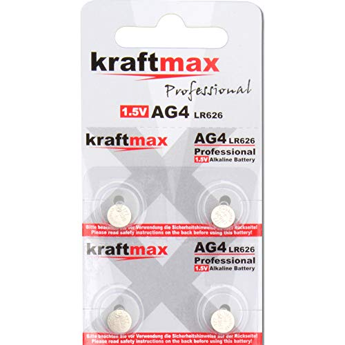 kraftmax 4er Pack Knopfzelle Typ 377 (AG4 / LR626 / LR66) Hochleistungs- Batterie / 1,5V Uhrenbatterie für professionelle Anwendungen - Neuste Generation