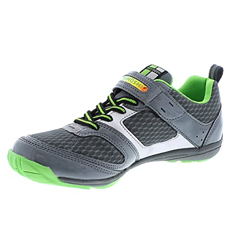 TSUKIHOSHI 4810 MAKO Strap-Closure Machine-Washable Youth Athletic and Running Shoe with Wide Toe Box and Slip-Resistant, Non-Marking Outsole - Gray/Green, 1 Little Kid (4-8 Years)