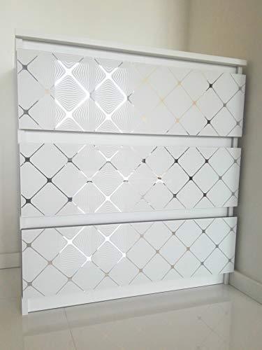 MRC Schubladenkommode Schubladenschrank für Schlafzimmer Wohnzimmer Badezimmer Kommode mit 3 Schubladen Glasfront Glamouröses Sideboard Verspiegeltes Schränkchen Anrichte 77x70x40 cm (Weiß/3DRomb)