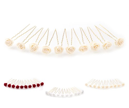 10 horquillas con rosas - accesorios para el cabello - para cabello profundo - oro - Beige