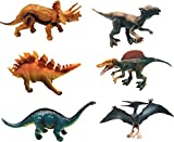 Realistic Dinosaur Figure Toys, 6 - 8 Inch Jumbo Plastic Dinosaur Playset, STEM Educational Realistic Dinosaur Figures Including T-Rex, Stegosaurus, Triceratops, t Rex and more! (6 pack)
