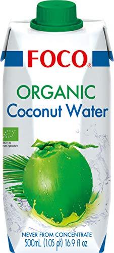 Foco Agua De Coco Bio Foco, Pura, Bebida Exótica De Moda, Refrescante Que Calma La Sed, Bebida Deportiva, Baja En Calorías, 100 % Vegana 507 g - Pack de 6