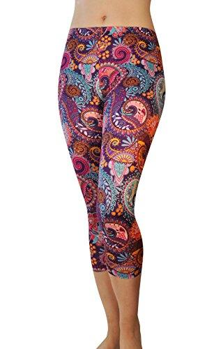 Comfy Yoga Pants - Dry Fit - Slimming Mid Rise Cut - Printed Yoga Leggings (Capri Purple Paisley)