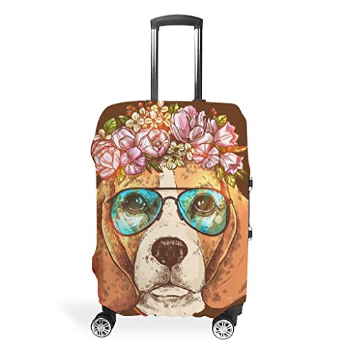 Dog Flower Lightweight Multiple Colors Luggage Cover Travel Suitcase Cover Elastic Sleeve 18/24/28/32 Inch for Luggage White XL (76x101cm)