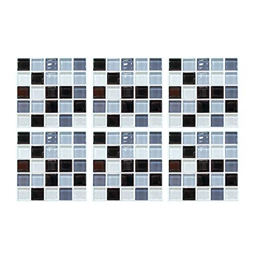 FINIVE 6 paneles de pared 3D de mosaico adhesivo para pared para decoración del hogar, cocina, cuarto de baño